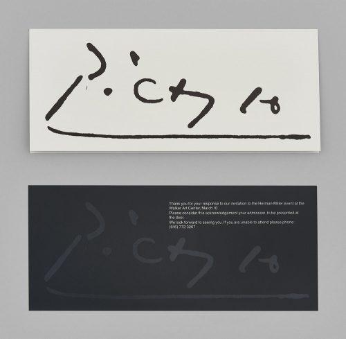 Works of Picasso Exhibit Invitation